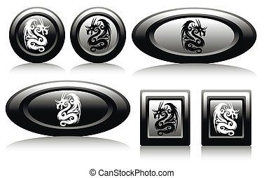 web button with dragons black and w