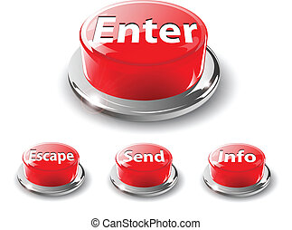 Web buttons, 3d red vector.