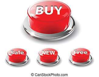 Web buttons, 3d red vector. - Web buttons, 3d red glossy...