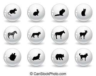 Web buttons, animal icons