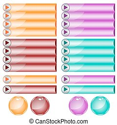 Web buttons assorted colors and shapes