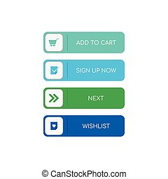 Web buttons flat design
