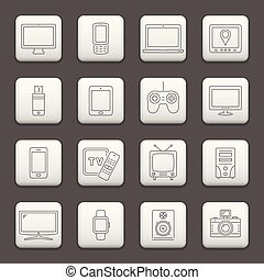 Web buttons, line icons set - digital devices