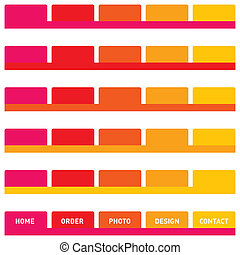 Horizontal navigation bar design, web buttons, tabs. Isolated on white.
