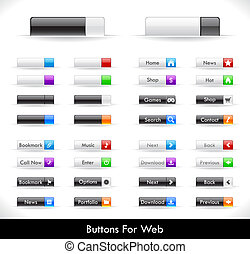 Web buttons pack - Set of color plastic buttons for web....