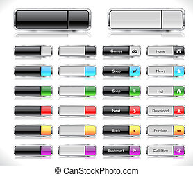 Web buttons pack - Set of color plastic buttons for web. ...