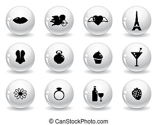 Web buttons, romantic icons