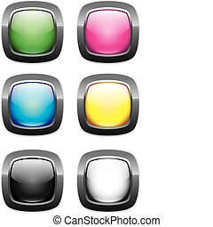 web buttons round rectangle glossy