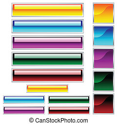 Web buttons, scaleable shiny rectangles and squares in assorted colors