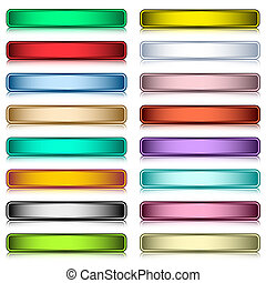Web buttons set in 16 assorted colors with reflection. ...