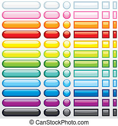 Web Buttons Set - Multicolored shine buttons for your web ...