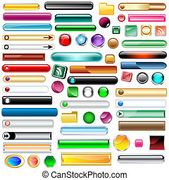 Web buttons collection with 63 scalable assorted colors and shapes inc round, square, rectangles and oval shaped buttons. Isolated on white.