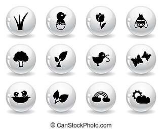 Web buttons, spring icons