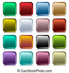 Web buttons set in 16 rounded square assorted colors with reflection. Scalable. Isolated on white.