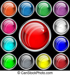 Web buttons with a glass effect in assorted colors.