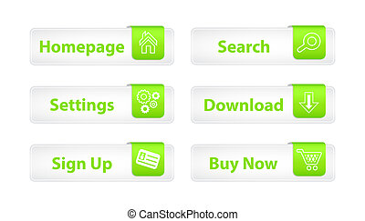 Web Buttons with Green Bookmarks and Six Icons