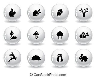 Web buttons, woodland icons