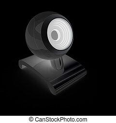Web-cam on a black background