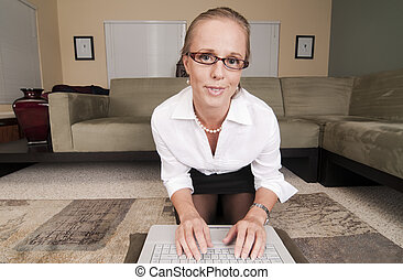 Web Cam Striptease Series - Blonde in Business Attire ...