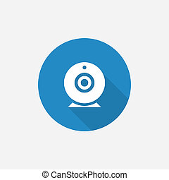 web camera Flat Blue Simple Icon with long shadow