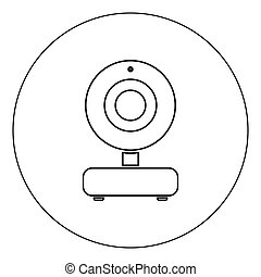 Web camera icon black color in circle vector illustration isolated