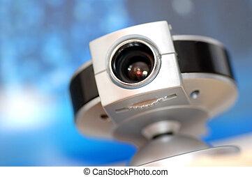 web camera, op, scherm, achtergrond