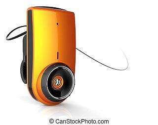 Orange shiny computer web camera. 3D render. Isolated on white.