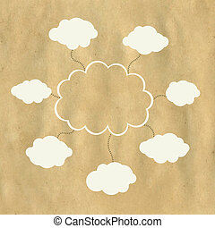 web, carta, vecchio, nuvola