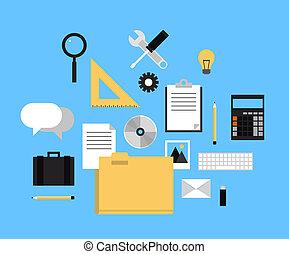 web, cartella, icone ufficio