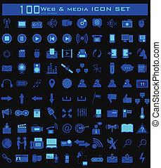 web, cento, set, icona, media