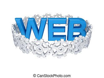 web., cercle, mot, autour de, engrenages