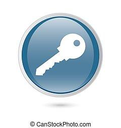 web, chiave, lucido, blu, icon., vettore, icona