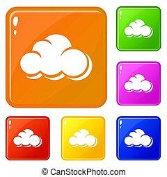Web cloud icons set color