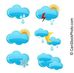 web cloud symbols set blue color