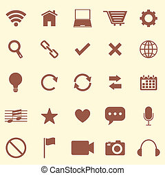 Web color icons on brown background