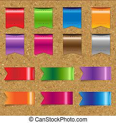 web, colorare, nastri, grande, set, con, sughero