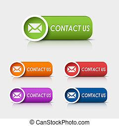 web, colorato, ci, rettangolare, bottoni, contatto