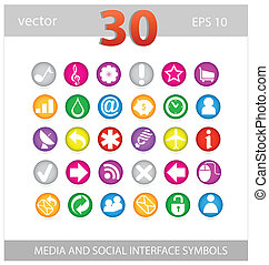 Web colored media and social sign set