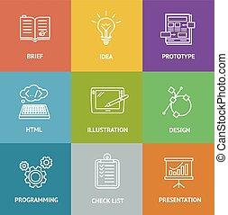 web, colorito, set., vettore, dewelopment, icona