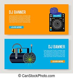 web, column., dj, illustration., registreren, set., twee, verzameling, bureaus, speler, s, vector, muziek, feestje, banieren, spandoek, muzikalisch, templates.