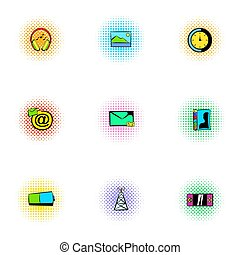 Web communication icons set, pop-art style