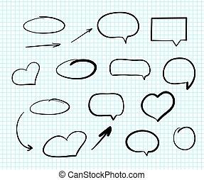 web, communie, doodle, hand-drawn, ontwerp, krabbelen