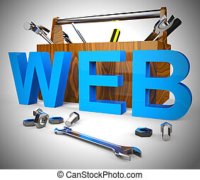 Web concept icon means connected to the World Wide Web - 3d illustration