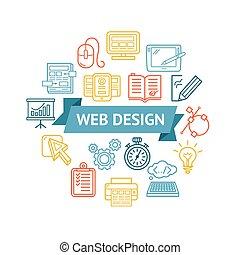 web, concept., vettore, disegno, icona