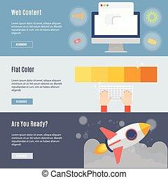 web, concetto, appartamento, elemento, disegno, icona