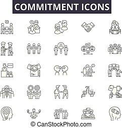 web, concetto, contorno, icone, mobile, editable, impegno, colpo, illustrazioni, linea, signs., design.