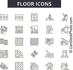 web, concetto, contorno, pavimento, mobile, icone, editable, colpo, illustrazioni, linea, signs., design.