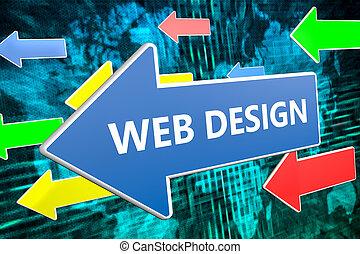 web, concetto, disegno, testo