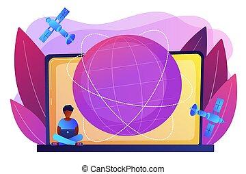 web, concetto, illustration., collegamento globale, vettore