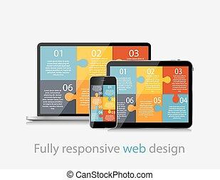 web, concetto, pienamente, illustrazione, vettore, disegno, sensibile